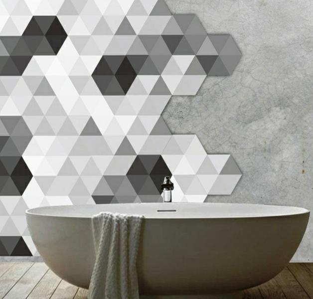 Polygon Sticker Grau
