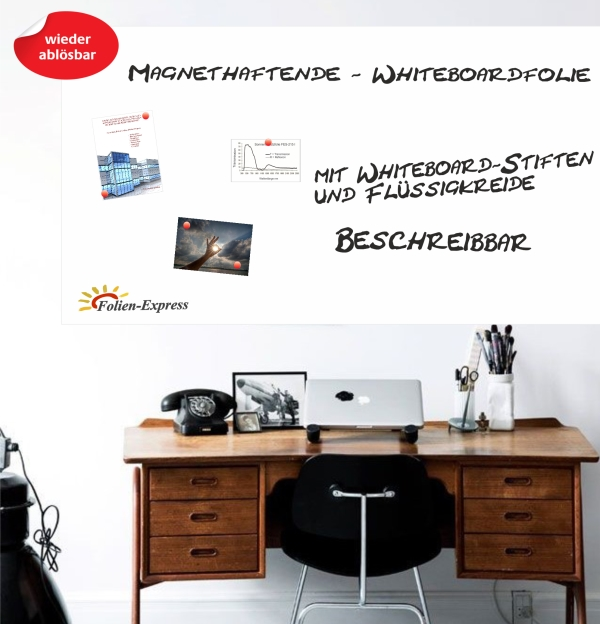 Magnethaftende Whiteboard Folie in Weiss